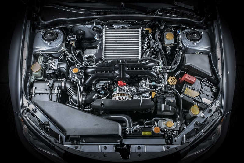 An overhead view of a car engine.