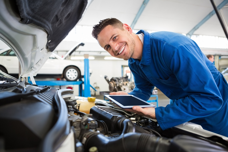 A car professional performing a car service and inspection of the engine.