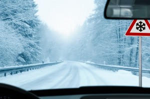 winter driving - snowy country road