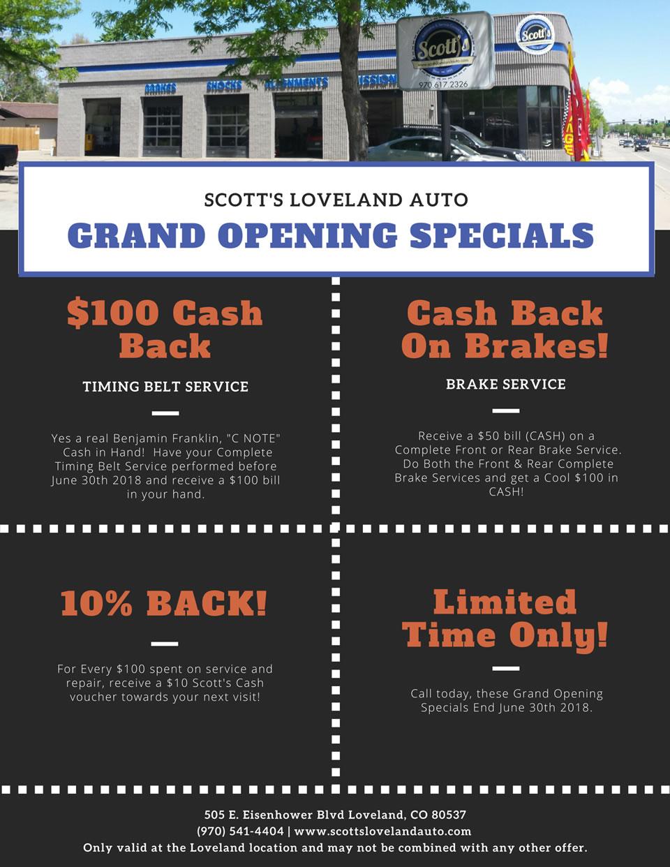 Scott's Grand Opening Auto Repair Specials